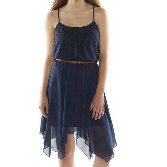 Speechless Dresses & Skirts - Navy asymmetrical summer fairy hem dress